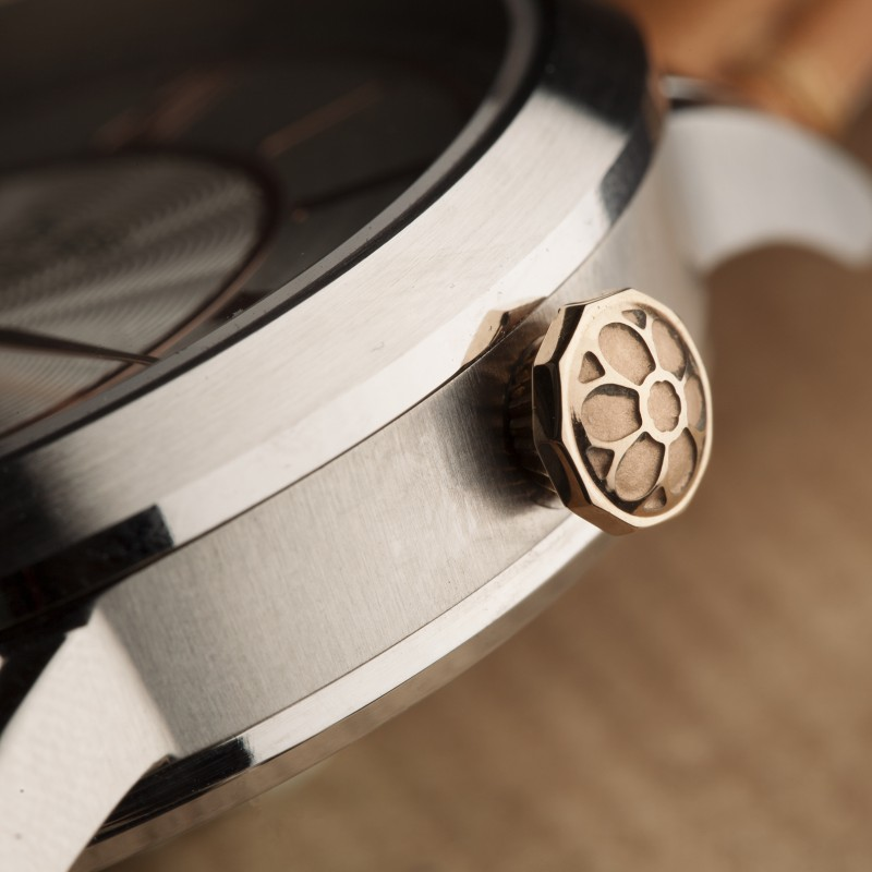 Camden Watch Company Automatic Steel and Rose Gold Crown square